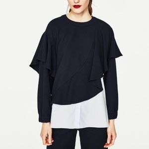 Zara Trafaluc Ruffle Mixed Fedia Navy Top